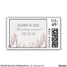 Blissful Branches Wedding Postage Stamps
