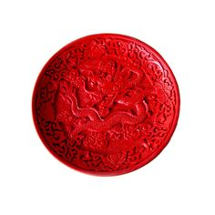 Antique Chinese Cinnabar Lacquer Dragon Plate  Asian Decor
