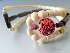 HandCrafted Adjustable Wood Bead Bracelet Triple Wrist  Red Accent by RustiCouture