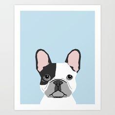 french bulldog art portrait - aqua light blue cute dog design
