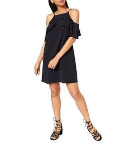 Miss Selfridge Cold Shoulder Shift Dress Women's Black US 2/UK 6