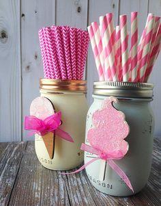Cumpleaños fiesta accesorio establece en Accessorize vidrio Mason Jar Decor láser cortan madera de algodón de azúcar helado cono bebé ducha primer cumpleaños