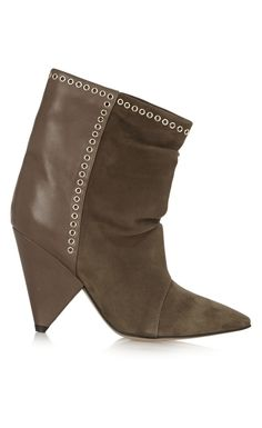 Isabel Marant Lance Embellished Suede And Leather Ankle Boots Brown - Isabel Marant