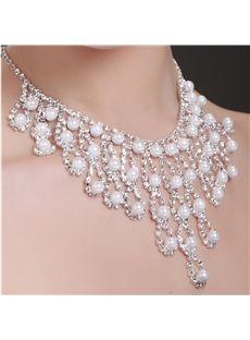 Increíble Juego de Joyas para Novia con Perlas (Incluye Collar y Pendientes)