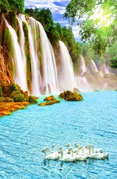 Cataratas Ban Gioc Detian _ China y Vietnam  BELLO AMANECER ☀  Ban Gioc Detian son la cuarta mayor caída de agua después de las Cataratas del Iguazú, las Cataratas Victoria, y las Cataratas del Niágara. Su principal salto se llama la Garganta de Tongling accesible sólo por una cueva de una quebrada adyacente. Una maravilla de la naturaleza. Las cataratas Ban Gioc Detian son dos saltos de agua de Asia localizados en el río Quây Sơn (o Guichun), en la frontera entre China y Vietnam, en unas…
