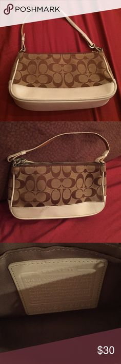 Coach handbag Perfect handbag for summer. Small scratch on one side but bag is in good condition. Light & summery Coach Bags Shoulder Bags
