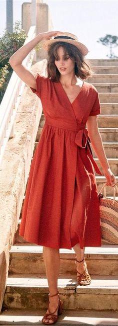red v neck cotton blended dress Linen Dresses, Cotton Dresses, Trendy Dresses, Fashion Dresses, Fashion Silhouette, Evening Dresses, Summer Dresses, Moda Chic, Buy Dress