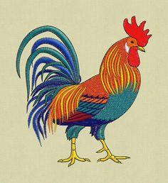 design de broderie pes coq coq Chiken hus jef dans zip