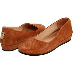French Sole Zeppa in luggage printed suede $130 {this style of F/S flat actually has arch support}