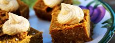 """These pumpkin squares are easier to make than pumpkin pie, and they are firm enough to be eaten as finger food. They are great by themselves, or add a bit of Macadamia-Vanilla Frosting for a little """"happy holidays."""" From straightupfood.com...  Read more"""