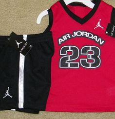 New Boys Nike Air Jordan Outfit Shirt Shorts Red Black Size 12 MO   eBay
