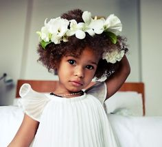 afro with floral crown - Google Search