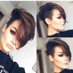 40 Latest Short Pixie Hairstyles For Women - - Short Hairstyles - Hairstyles 2019 On the off chance that you need to have your spot among the new patterns, you can endeavor to give your hair another look. In the event that you need to see the Trending Hairstyles, Pixie Hairstyles, Hairstyles With Bangs, Undercut Hairstyles Women, Undercut Women, Female Hairstyles, Hairstyles Pictures, Spring Hairstyles, School Hairstyles