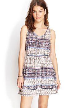 Folk Print Fit & Flare Dress - Clothing - Dresses - 2000105258 - Forever 21 EU