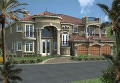 This beautiful, two-story, Florida Spanish Mediterranean-style luxury home plan comes in four different versions (see below). It features five bedrooms, five and one-half bathrooms, a cabana bath, three-car garage and a towering, covered entrance with eight-foot high French front door with arched transome and balconies. This design provides a large living room, a huge island kitchen with an eating bar and opens to the family room. A media room features a wet bar and billard room. The second stor