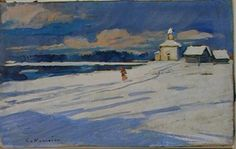 Ashmolean Advent Calendar  Day 17  Konstantin Alekseevich Korovin (1861-1939)  Winter Landscape with a small Church  Oil on board WA1960.36.3
