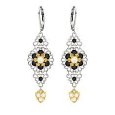 Lucia Costin Silver White Black Earrings