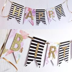 A #happybirthday banner going out to #northcarolina with some modern stripes and #watercolourflowers 🌸  Order your custom banners and party decor from our etsy shop (link in bio)  If you can dream it we can create it!  #love #design #custom #stationary #stationery #etsyca  #papergoods #etsyfinds #partydecoration #yyz #gta #handmadeloves #makersvillage #etsysellers #craftspire #lovemymakers #whereitsat #favehandmade #handmadecurator #torontomoms #momsofinstagram #bridetobe #partyplanner