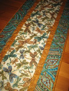 Quilted Table Runner Dragonflies Turquoise Green by TahoeQuilts
