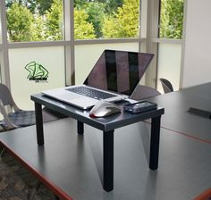 """Mobile Desk Stand, Silver  Customizable, lightweight, portable standing desk that will simplify and transform your life! Engineered out of Aluminum, this product weighs a mere 3.75 pounds and features incredible strength and stability.   It features 4 individual, foldable legs that lock in place, both in its resting and standing position.   Dimensions are: 22"""" long x 12"""" wide x 10"""" high.    Contact us for more customizable options."""