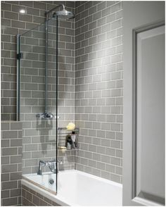 Grey subway tiles look great in this modern bathroom. - Grey subway tiles look great in this modern bathroom. Modern Bathroom Design, Shower Room, Boys Bathroom, Bathroom Decor, Bathroom Remodel Master, Bathroom Makeover, Tile Bathroom, Bathroom Shower, Bathroom Design