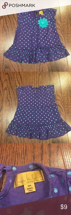 EUC Nicole Miller toddler top 👧🏻💜💙 Purple top with blue polka dots! Great condition and adorable!! Nicole Miller Shirts & Tops