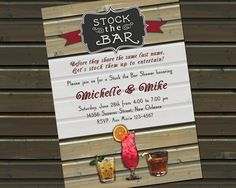 Stock the Bar Party / Couples Shower Invitation - 30 or 50 Printed Invitations with Envelopes by TwinspiringDesign on Etsy