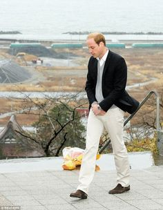 William placed a bouquet at a hilltop shrine for the victims of March 11, 2011 earthquake and tsunami in Ishinomaki, Japan 27 feb 2015
