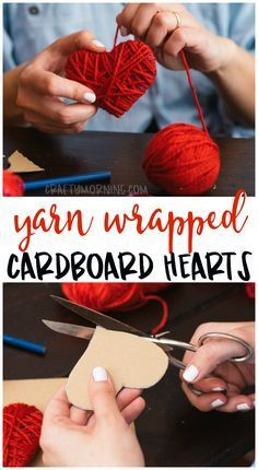 Make some cute yarn-wrapped cardboard hearts for a Valentine's Day crafting idea! Ki ...  #cardboard #crafting #hearts #valentine #wrapped