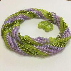 Lilac Green Beaded Set Twisted Herringbone by BeadFantasyBoutique