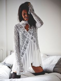 Free People-Secret Origins*Tell Tale Tunic-Pieced,Lace,Ivory-XS-$128-NEW!! 2015