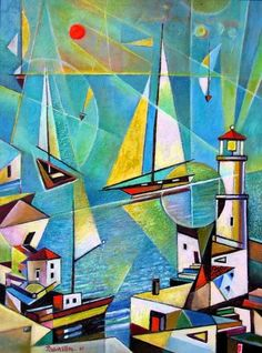 A Beautiful Jewish Art oil painting for sale of  Telaviv Harbor by Israel Rubinstein. only at www.judaica-art.com