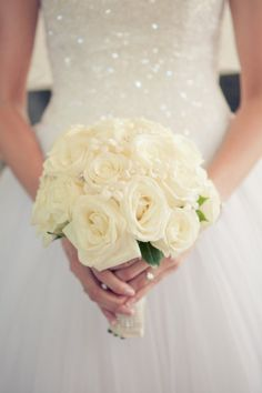 white roses - Chicago wedding at Pazzo's at 311 by Kristin La Voie Photography