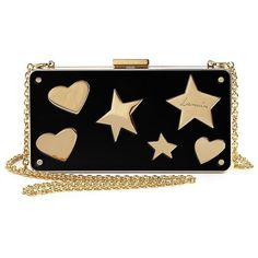 Lanvin Hearts & Stars Plexi Box Clutch ($2,700) ❤ liked on Polyvore featuring bags, handbags, clutches, apparel & accessories, multi, heart purse, acrylic purse, chain handbags, lucite box clutch and box clutch