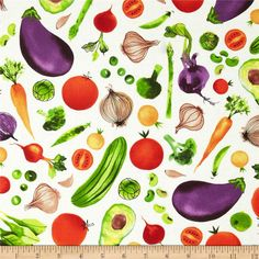 Metro Market Vegetables Cream  from @fabricdotcom  Designed by Margaret Berg for Kaufman, this cotton print fabric is perfect for quilting, apparel and home decor accents. Colors include purple, green, tomato and tan on a cream background.