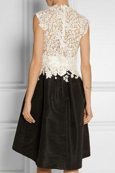 Oscar de la Renta - Embroidered lace and faille dress