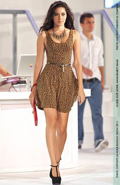 Try a cheetah print dress, edgy accessories and a colorful clutch for a night out with the ladies.