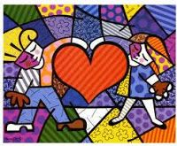 Romero Britto - One of my favorite contemporary artists Art Lessons, Beginner Painting, Travel Art, Postcard, Painting, Art, Romero Britto, Heart Canvas, Pop Art