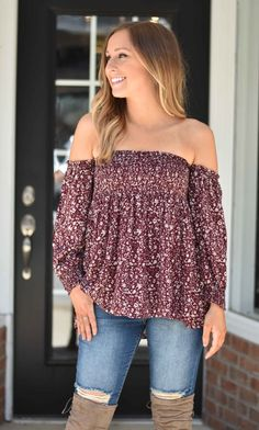 Burgundy Paisley Off The Shoulder | Lane 201 Boutique