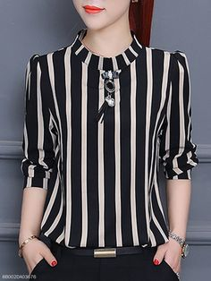 Vertical Striped Chiffon Blouse - Outfit of the day Look Fashion, Trendy Fashion, Fashion Outfits, Fashion Design, Fashion Clothes, Cheap Fashion, Womens Fashion, Fashion Ideas, Fashion 101