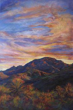Southwestern Art Sunset Paints Chinati Lindy Severns Print, 5x7, signed, matted, enhanced unique fine art landscape, a canyon near Marfa, TX...