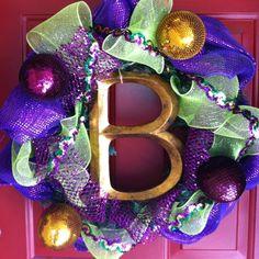 My Mardi Gras Wreath I made :)