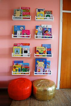 Ikea Spice Racks: Use spice racks from Ikea to create a wall of storage for your kids favorite books! Who knew there was a better use for spice racks than storing spices? Learn more about this project over at Ikea Hacks. Spice Rack Bookshelves, Ikea Spice Racks As Book Shelves, Bookshelves Kids, Book Storage, Book Racks, Ikea Shelves, Book Organization, Nursery Bookshelf, Small Bookcase