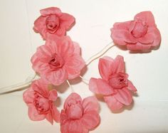 Vintage Millinery Flower Spray French Vermilion