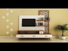Modern, Ethnic TV Unit with Jaali Design by Intart Interiors in Pune - price starting at Unit Tv Unit Design, Tv Cabinet Design, Tv Wall Design, Tv Wall Decor, Wall E, Decor Room, Bedroom Decor, Tv Wanddekor, Lcd Units