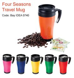 Four Seasons Travel Mugs South Africa A double walled thermal mug with a lid and handle Travel Mug Coffee, Travel Mugs, Thermal Mug, Mug Printing, Unique Coffee Mugs, Corporate Gifts, Four Seasons, South Africa, Tableware