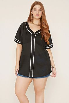Forever 21 + - This baseball jersey is crafted from a semi-sheer mesh knit with a contrast trim along its snap-buttoned front and varsity stripes along its short sleeves.