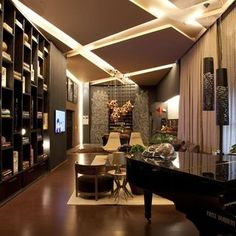 Sala de estar com pendente de Denise Barretto - Viva Decora