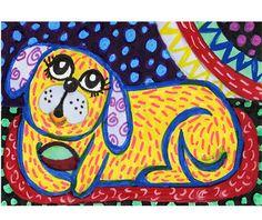 Dog Art Folk Art Dog Whimsy Childrens Room by AGirlAnOwlAndACat, $8.50