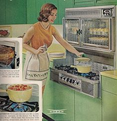 Vintage Roper stove oven advertisement... with incredible green steel cabinets... probably early 1960's when these style of Frigidaire Flair Range or Tappan 400 range's were the hot kitchen item to own!